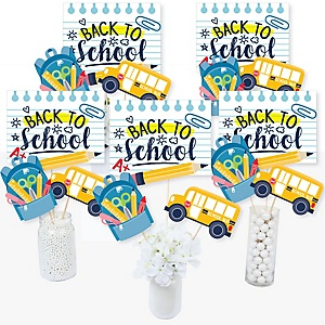 Back to School - First Day of School Classroom Decorations and Centerpiece Sticks - Table Toppers - Set of 15