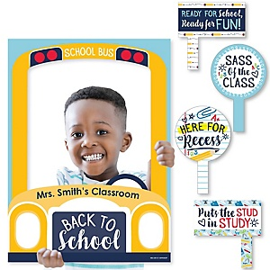 Back To School - Personalized First Day of School Classroom Party Selfie Photo Booth Picture Frame & Props - Printed on Sturdy Material