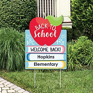 Back to School - Party Decorations - First Day of School Classroom Personalized Welcome Yard Sign