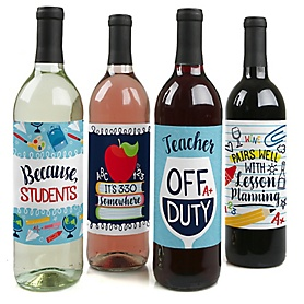 Back to School - First Day of School Teacher Appreciation Decorations for Women and Men - Wine Bottle Label Stickers - Set of 4