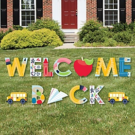 Back to School - Yard Sign Outdoor Lawn Decorations - First Day of School Classroom Yard Signs - Welcome Back