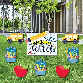 Back to School - Yard Sign & Outdoor Lawn Decorations - First Day of School Classroom Yard Signs - Set of 8