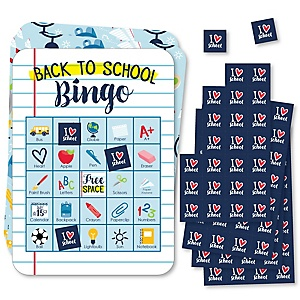 Back to School - Picture Bingo Cards and Markers - First Day of School Classroom Activities Bingo Game - Set of 18