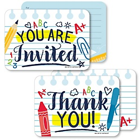 Back to School - 20 Shaped Fill-In Invitations and 20 Shaped Thank You Cards Kit - First Day of School Classroom Stationery Kit - 40 Pack