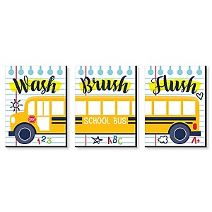 Back to School - Kids Bathroom Rules Wall Art - 7.5 x 10 inches - Set of 3 Signs - Wash, Brush, Flush