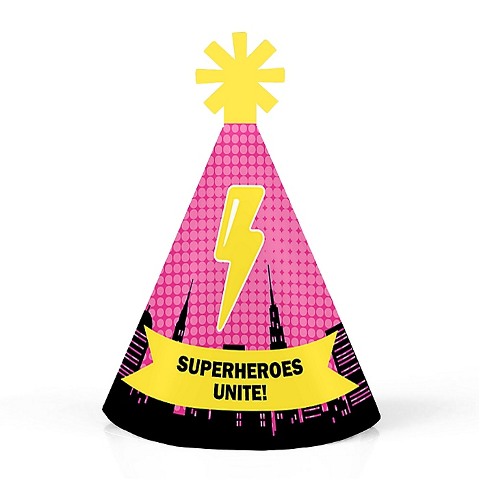 BAM! Girl Superhero - Personalized Mini Cone Baby Shower or Birthday Party Hats - Small Little Party Hats - Set of 10