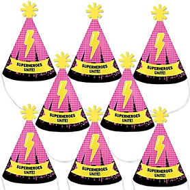 BAM! Girl Superhero - Mini Cone Baby Shower or Birthday Party Hats - Small Little Party Hats - Set of 8