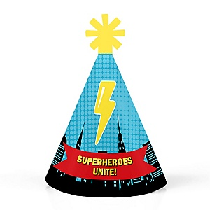 BAM! Superhero - Personalized Mini Cone Baby Shower or Birthday Party Hats - Small Little Party Hats - Set of 10