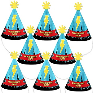 BAM! Superhero - Mini Cone Baby Shower or Birthday Party Hats - Small Little Party Hats - Set of 8