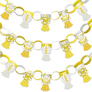 Let's Go Bananas - 90 Chain Links and 30 Paper Tassels Decoration Kit - Tropical Party Paper Chains Garland - 21 feet