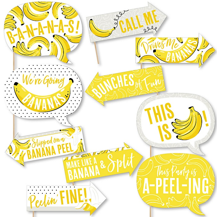 Funny Let's Go Bananas - 10 Piece Tropical Party Photo Booth Props Kit