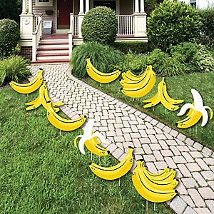 Let's Go Bananas - Lawn Decorations - Outdoor Tropical Party Yard Decorations - 10 Piece