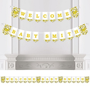 Let's Go Bananas - Personalized Tropical Baby Shower Bunting Banner and Decorations