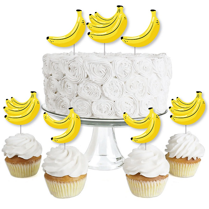 Let's Go Bananas - Dessert Cupcake Toppers - Tropical Party Clear Treat Picks - Set of 24