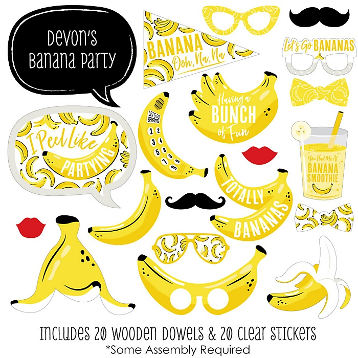 Let's Go Bananas - 20 Piece Tropical Party Photo Booth Props Kit