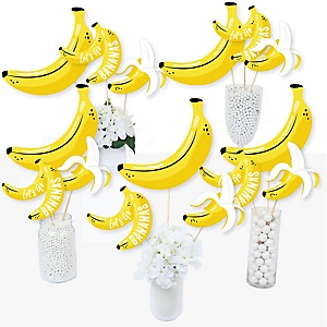 Let's Go Bananas - Tropical Party Centerpiece Sticks - Table Toppers - Set of 15