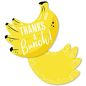 Let's Go Bananas - Shaped Thank You Cards - Tropical Party Thank You Note Cards with Envelopes - Set of 12