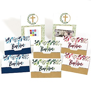 Baptism Elegant Cross - Assorted Religious Party Money And Gift Card Holders - Set of 8
