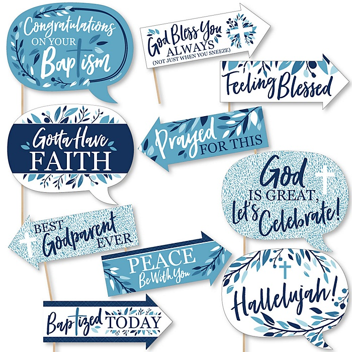 Funny Baptism Blue Elegant Cross - Boy Religious Party 10 Piece Photo Booth Props Kit