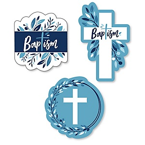 Baptism Blue Elegant Cross - DIY Shaped Boy Religious Party Cut-Outs - 24 ct