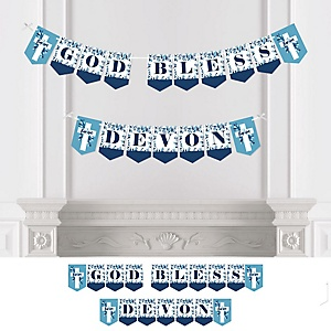Baptism Blue Elegant Cross - Personalized Boy Religious Party Bunting Banner and Decorations
