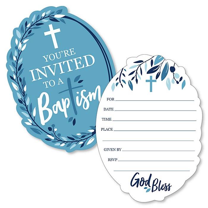 Baptism Blue Elegant Cross - Shaped Fill-In Invitations - Boy Religious Party Invitation Cards with Envelopes - Set of 12
