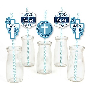 Baptism Blue Elegant Cross - Paper Straw Decor - Boy Religious Party Striped Decorative Straws - Set of 24