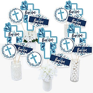 Baptism Blue Elegant Cross - Boy Religious Party Centerpiece Sticks - Table Toppers - Set of 15