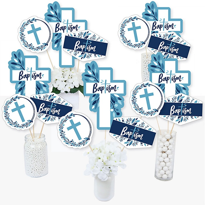 Baptism Blue Elegant Cross - Boy Religious Party Centerpiece Sticks - Table Toppers - Set of 15