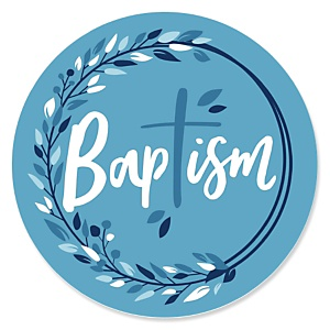 Baptism Blue Elegant Cross - Religious Party Theme