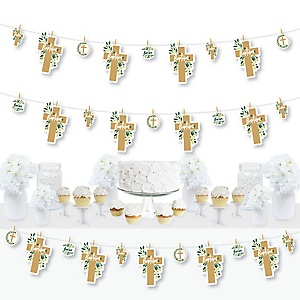 Baptism Elegant Cross - Religious Party DIY Decorations - Clothespin Garland Banner - 44 Pieces