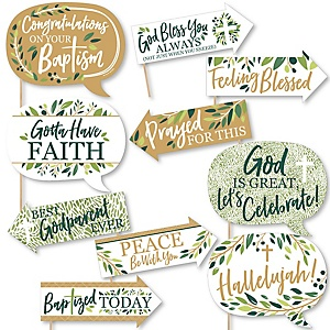 Funny Baptism Elegant Cross - Religious Party 10 Piece Photo Booth Props Kit