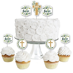 Baptism Elegant Cross - Dessert Cupcake Toppers - Religious Party Clear Treat Picks - Set of 24