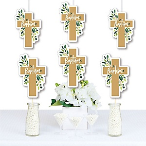 Baptism Elegant Cross - Decorations DIY Religious Party Essentials - Set of 20