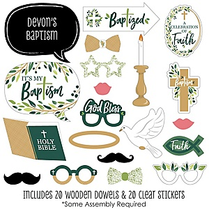 Baptism Elegant Cross - 20 Piece Religious Party Photo Booth Props Kit