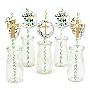 Baptism Elegant Cross - Paper Straw Decor - Religious Party Striped Decorative Straws - Set of 24
