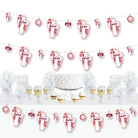 Baptism Pink Elegant Cross - Girl Religious Party DIY Decorations - Clothespin Garland Banner - 44 Pieces