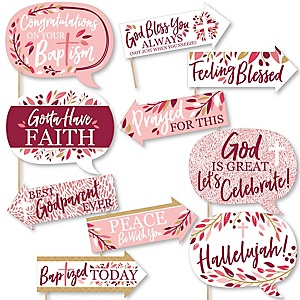 Funny Baptism Pink Elegant Cross - Girl Religious Party 10 Piece Photo Booth Props Kit