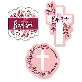 Baptism Pink Elegant Cross - DIY Shaped Girl Religious Party Cut-Outs - 24 ct