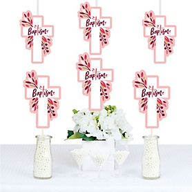 Baptism Pink Elegant Cross - Decorations DIY Girl Religious Party Essentials - Set of 20