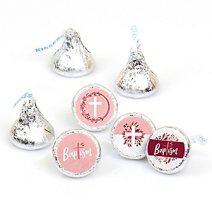 Baptism Pink Elegant Cross - Girl Religious Party Round Candy Sticker Favors - Labels Fit Hershey's Kisses  - 108 ct