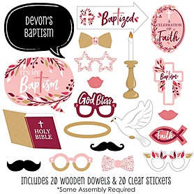 Baptism Pink Elegant Cross - 20 Piece Girl Religious Party Photo Booth Props Kit