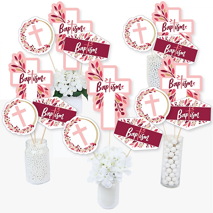 Baptism Pink Elegant Cross - Girl Religious Party Centerpiece Sticks - Table Toppers - Set of 15