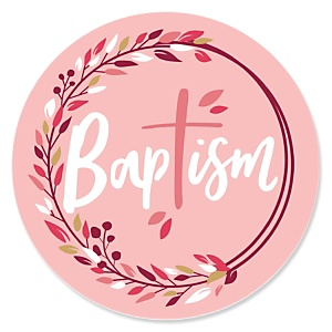 Baptism Pink Elegant Cross - Religious Party Theme