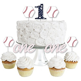 1st Birthday Batter Up - Baseball - Dessert Cupcake Toppers - First Birthday Party Clear Treat Picks - Set of 24