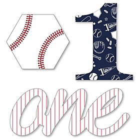 1st Birthday Batter Up - Baseball - DIY Shaped First Birthday Party Cut-Outs - 24 ct
