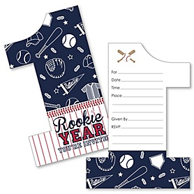 1st Birthday Batter Up - Baseball - Shaped Fill-In Invitations - First Birthday Party Invitation Cards with Envelopes - Set of 12