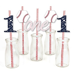 1st Birthday Batter Up - Baseball - Paper Straw Decor - First Birthday Party Striped Decorative Straws - Set of 24