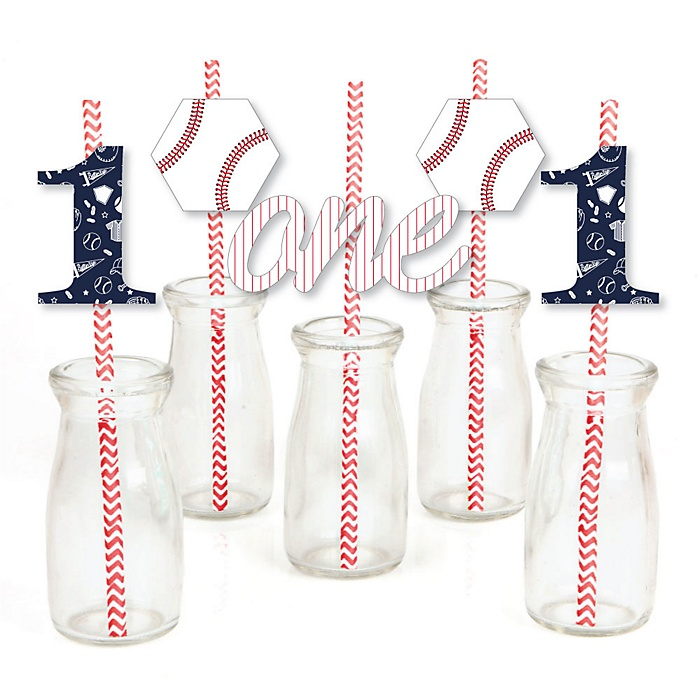 1st Birthday Batter Up - Baseball - Paper Straw Decor - First Birthday Party Striped Decorative Straws - Set of 24