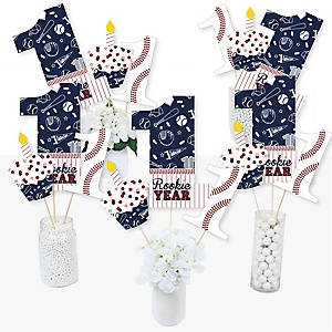 1st Birthday Batter Up - Baseball - First Birthday Party Centerpiece Sticks - Table Toppers - Set of 15
